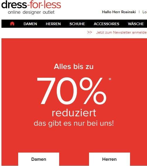 DRESS FOR LESS --> bis zu 70% SALE + 15% GUTSCHEIN