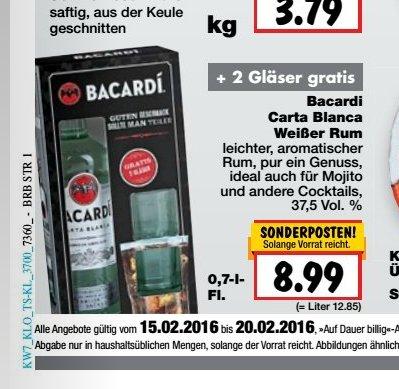 kaufland erkner ab 15.02 bacardi carta blanca plus 2 bacardi gläser auch in BY