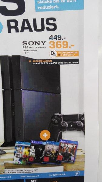 Playstation 4 1TB mit 4 Spielen für 369€ bei Saturn in Lüdenscheid