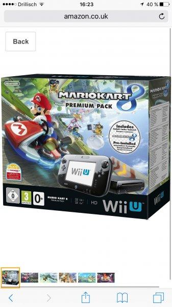 [Amazon.co.uk 260€ Nintendo Wii U Premium Pack schwarz, 32GB inkl. Mario Kart 8 (vorinstalliert)