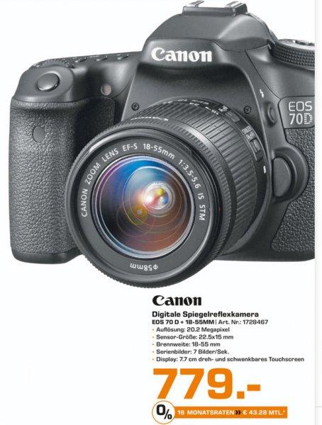 [SATURN Bielefeld - lokal] CANON EOS 70 D DSLR + 18-55mm (IDEALO 888€)