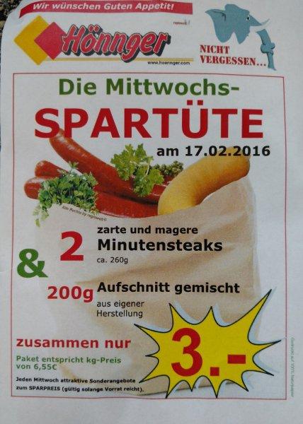 [Hönnger Filialen] 2 Minutensteaks & 200g Aufschnitt für 3€