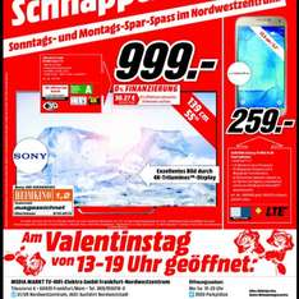 Sony KD55X8505C 999,- Samsung Galaxy S5 NEO 16GB 259,-€