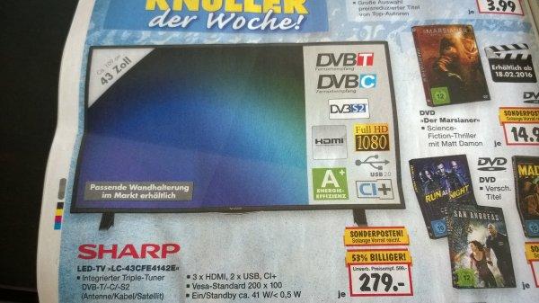 [Kaufland] 43 Zoll Sharp LED-TV Full HD mit DVB-S/T/C & 3*HDMI