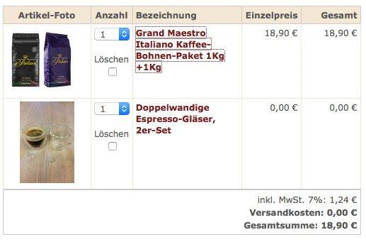 (Sweet & Fine) 2 kg Grand Maestro Italiano Kaffeebohnen + 2 Espressogläser für 18,90€ inkl. Versand statt 56,25€