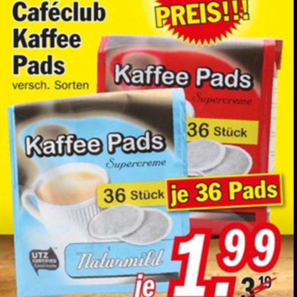 36 Kaffepads von cafeclub (supercrema) Naturmild und Classic bei Zimmermann