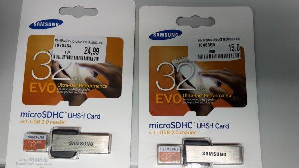 MediaMarkt: Samsung Memory 32GB Evo MicroSDHC UHS-I Grade 1 Class 10 Speicherkarte mit USB Adapter