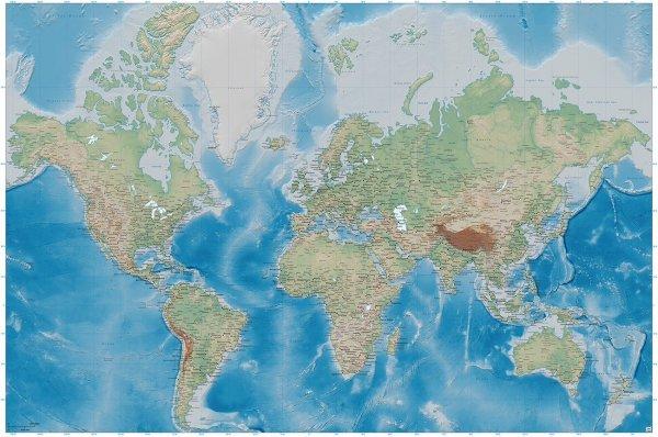 Weltkarte Fototapete - Relief Karte - XXL 336 x 238 cm für 19€ bzw. 22€ (Ausverkauft) (Andere Motive aber noch verfügbar)
