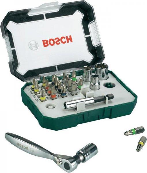 Bit-Set 26teilig Bosch Schlitz, Kreuzschlitz, Torx, Innen-Sechskant mit Ratsche