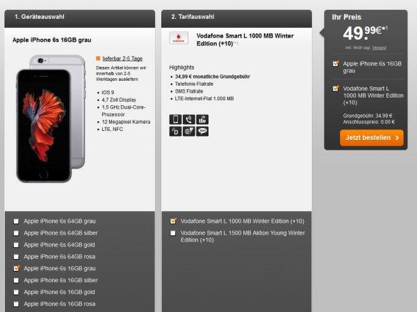 [handyflash] Apple Iphone 6S 16GB + Vodafone Smart L Winter Edition montl Fixkosten 37,24€ All-Inclusive