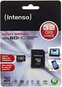 [ebay WOW!] Intenso 32GB Micro SDHC Speicherkarte Class 10 Karte inkl. SD SDHC Card Adapter
