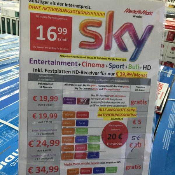 Sky OHNE Aktivierungsgebühr UND 20 Euro Gutschein im Media Markt Wetzlar