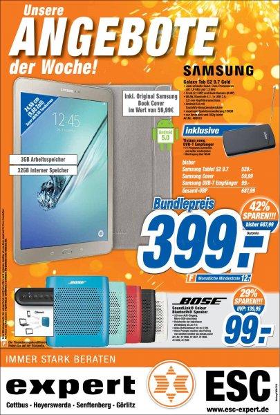 abgelaufen [Lokal EXPERT CB, Hoy, SFB, GR] SAMSUNG Galaxy Tab S2 9.7 Gold Bundle inkl. Cover und DVB-T Empfänger - 399,00