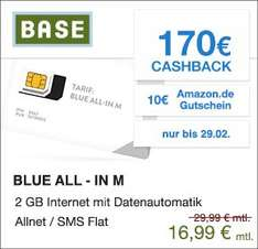 Blue All-In M Tarif  mit 170€ Cashback 10€ Amazon.de Gutschein über Qipu