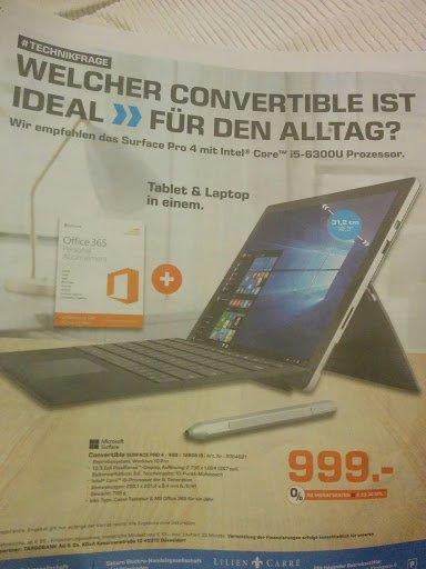 [Lokal Saturn Mainz/Wiesbaden] Microsoft Surface Pro 4 i5 / 4GB RAM / 128GB + Type Cover + 1J MS Office 365