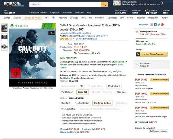 Call of Duty: Ghosts - Hardened Edition für 14,97€ XBOX360 und PS3