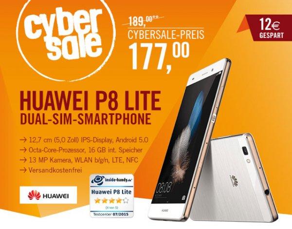 Huawei P8 Lite LTE + Dual-SIM (5'' HD IPS, Kirin 620 Octa-Core 64 Bit, 2GB RAM, 13MP + 5MP Kamera, Android 5.0) für 177€ bei Cyberport.de