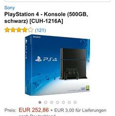 Amazon PlayStation 4 500GB schwarz 255,86€