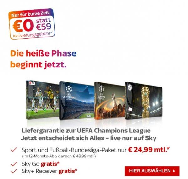 [Sky] Starter, Bundesliga, Sport & Sky Go 1Jahr 24,99€mtl zzgl. 12,90€ Versand