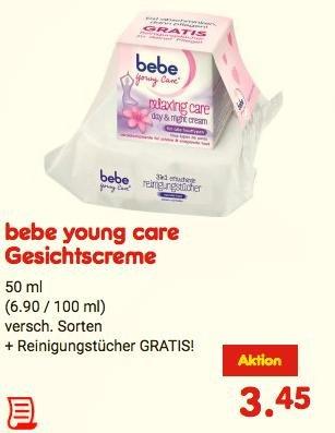 [bebe young care] Reinigungstücher GRATIS beim Kauf einen Gesichtscreme (Aktionspackung, versch. Sorten) [KW07, Netto MD] [KW08, Kaufland BW+?]