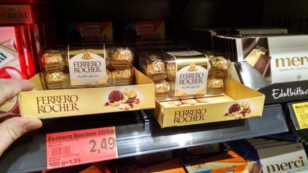 Edeka Hamburg Bramfeld 200g Ferrero Rocher 2,49 Euro =100g = 1,25 Euro