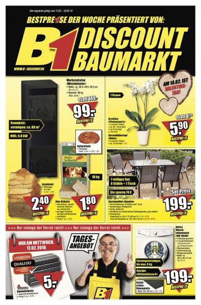Holzbrikett 10kg 1,80€ bei B1 Discount Baumarkt -> mit Preisgarantie 1,62€