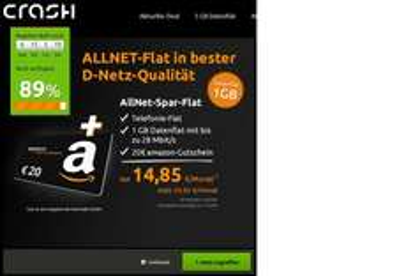 Crash-Tarife: Allnet-Flat D1 mit 1GB für 14,85 Euro + 20 Euro Amazon