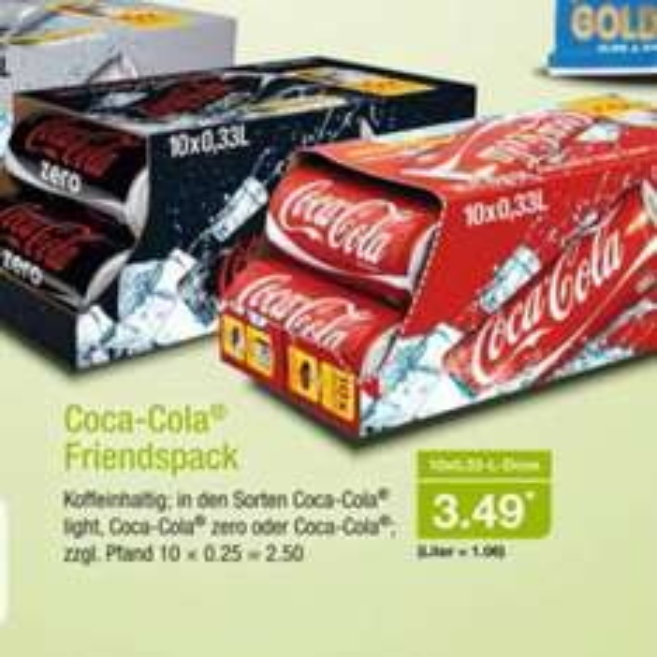 [ALDI Nord] 26+27.02 Coca Cola (auch Zero und light) Friendspack 10x 0,33l