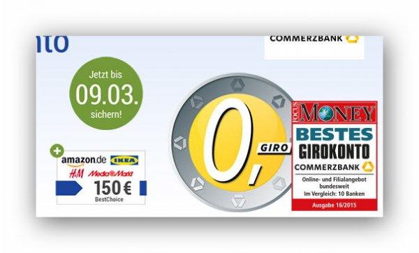 Commerzbank: Kostenloses Girokonto + 150 € Gutschein! x09