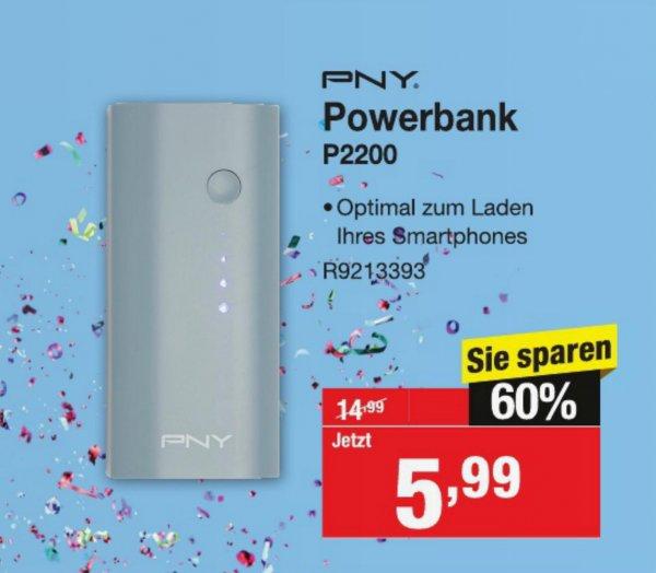 PNY Powerbank P2200 mit Taschenlampe [Staples]