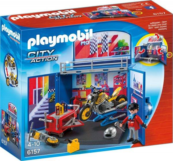 """[Amazon Prime] PLAYMOBIL 6157 - Aufklapp-Spiel-Box """"Motorradwerkstatt"""" für 7,23€"""