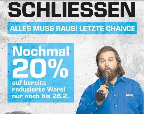 [Lokal Saturn Delmenhorst] 20% Extra Rabatt auf ALLE bereits reduzierte Artikel wegen Marktschließung