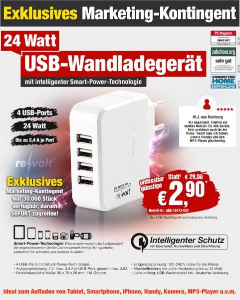 ReVolt Intelligentes 4-Port-USB-Netzteil [Pearl]