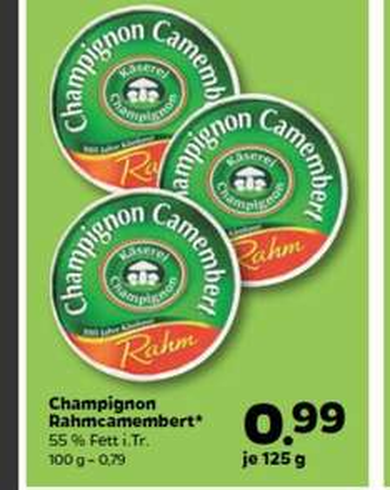 netto mit hund Champignon Rahmcamembert 55 % Fett 3 mal 125 g / 375g aus der Käserei Champignon