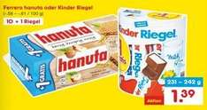 Netto MD Kinder Riegel / Hanuta 10+1 für 1,39€