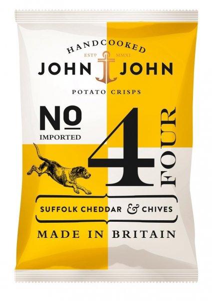 Amazon Prime John & John Potato Crisps Suffolk Cheddar & Chives 40g, 12er Pack (12x 40 g) - Nur 6,83 € statt 14,02 €