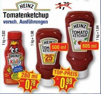 [Center Shop ab 29.02.] Heinz Tomato Ketchup versch. Sorten. 605 ml für 0,99 € - Idealo ab 2,49 € (= 60% Ersparnis!)