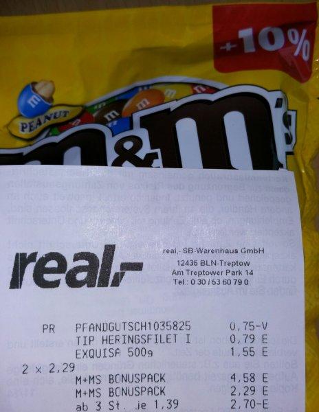 [Real Berlin Treptow] M&M's verschiedene Sorten 220 Gramm (incl. +10%) für 1,39€