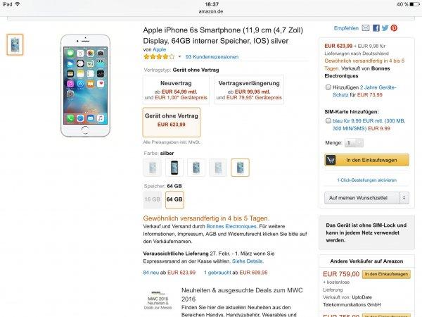[Amazon Marketplace] iPhone 6s 64 GB silber 633,97 inkl. Versand