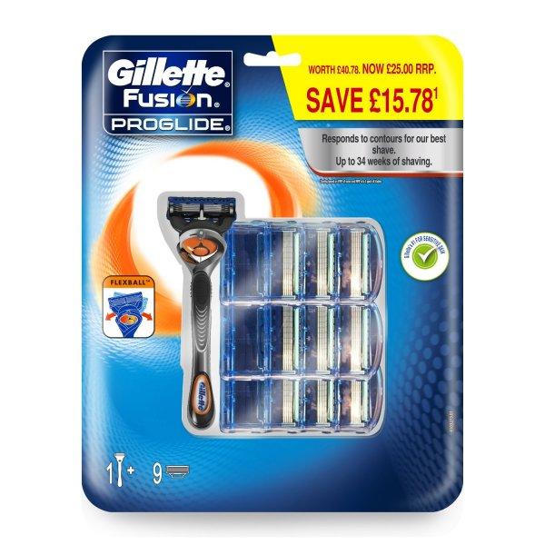 [Amazon Prime] Wieder da: Gillette Fusion Proglide Flexball Rasierer, Vorteilspack mit 10 Klingen