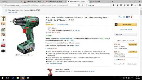 [Amazon.uk] Bosch PSR 1440 LI-2 Akku Schrauber