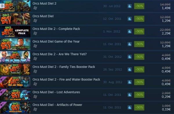 Orcs Must Die! Franchise -90% auf Steam