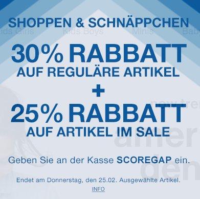 GAP: 30% Rabatt auf reguläre Ware und 25% extra Rabatt auf Sale