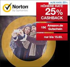 25% Qipu-Cashback auf NORTON Antivirus & Internet Security Software (auch Verlängerungen & Upgrades) + 15€ Amazon Gutschein auf NORTON Antivirus & Internet Security Software