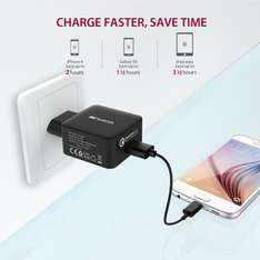 (Amazon Prime) Ladegerät mit Quick Charge 2.0 [Qualcomm zertifiziert] 18W USB Charger mit Micro USB Kabel