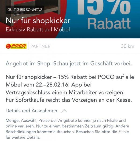 Poco Domäne 15% auf alle Möbel bundesweit für shopkicker