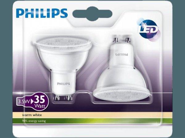 [Mediamarkt] Philips LED-Reflektor GU10 3,5W (ersetzt 35 Watt), 240 Lumen, warmweiß , 3,5 kWh/1000 h , EEK: A+ Doppelpack für 8,-€ Versandkostenfrei