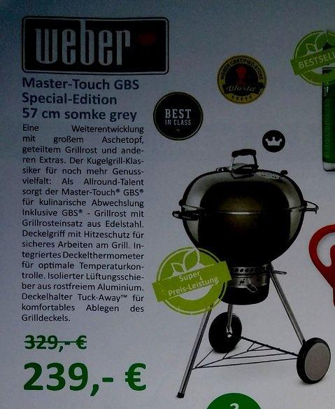 Weber Master-Touch GBS Special-Edition 57cm smoke grey (ggf 12% Bauhaus TPG) [lokal Gelsenkirchen]