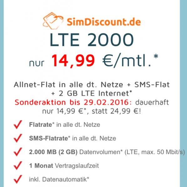 Allnet-Flat in alle dt. Netze + SMS-Flat + 2 GB LTE Internet
