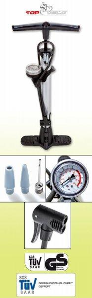 [NORMA] Top Velo - Standluftpumpe / Fahrradpumpe / Ballpumpe - mit Manometer / Druckanzeige - für 6,99 € ab 29.02.